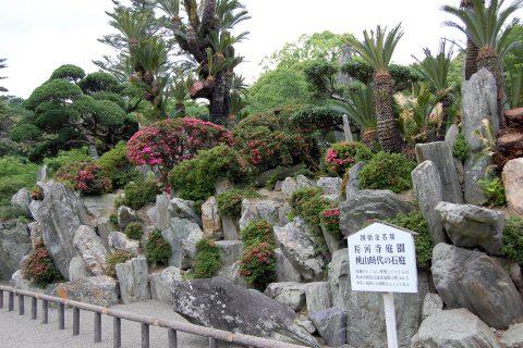 さつきの咲き始めた粉河寺庭園